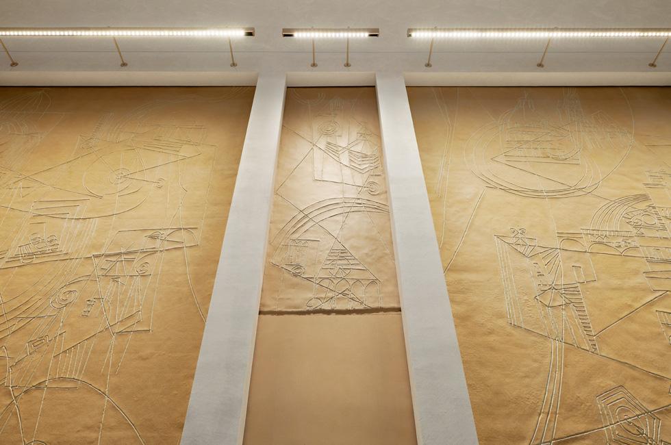 Original Afro Basaldella art panels at Apple Via del Corso.