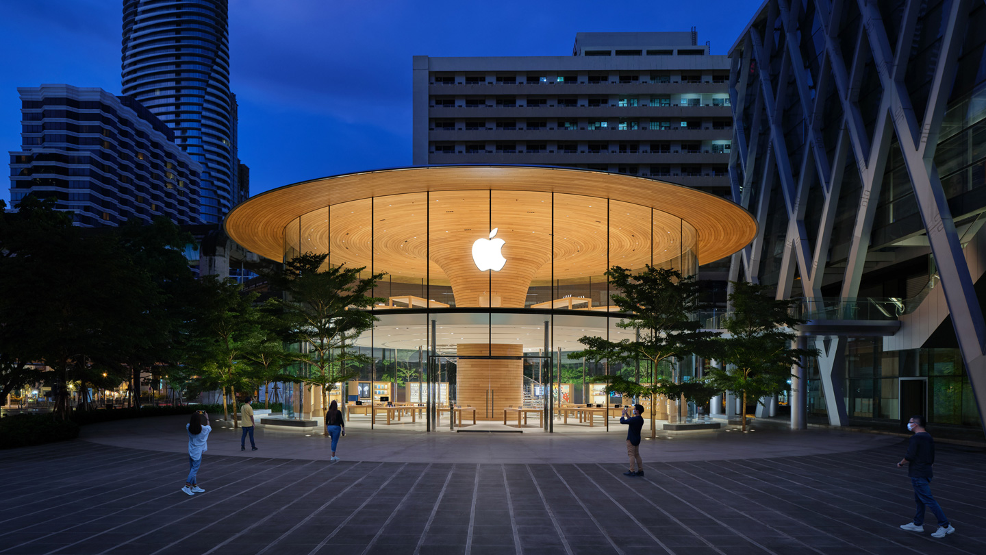 The outdoor plaza and main exterior of Apple Central World.