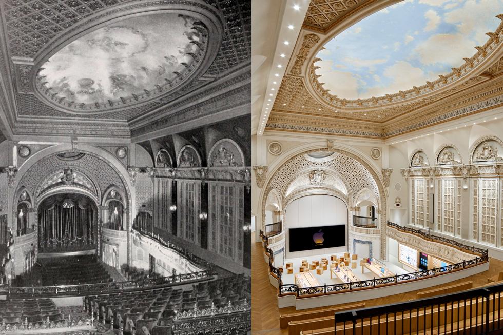 Photo d'archives du Tower Theatre à côté d'une photo de l'Apple Tower Theatre entièrement rénové montrant qu'Apple a redonné au bâtiment sa splendeur originelle.