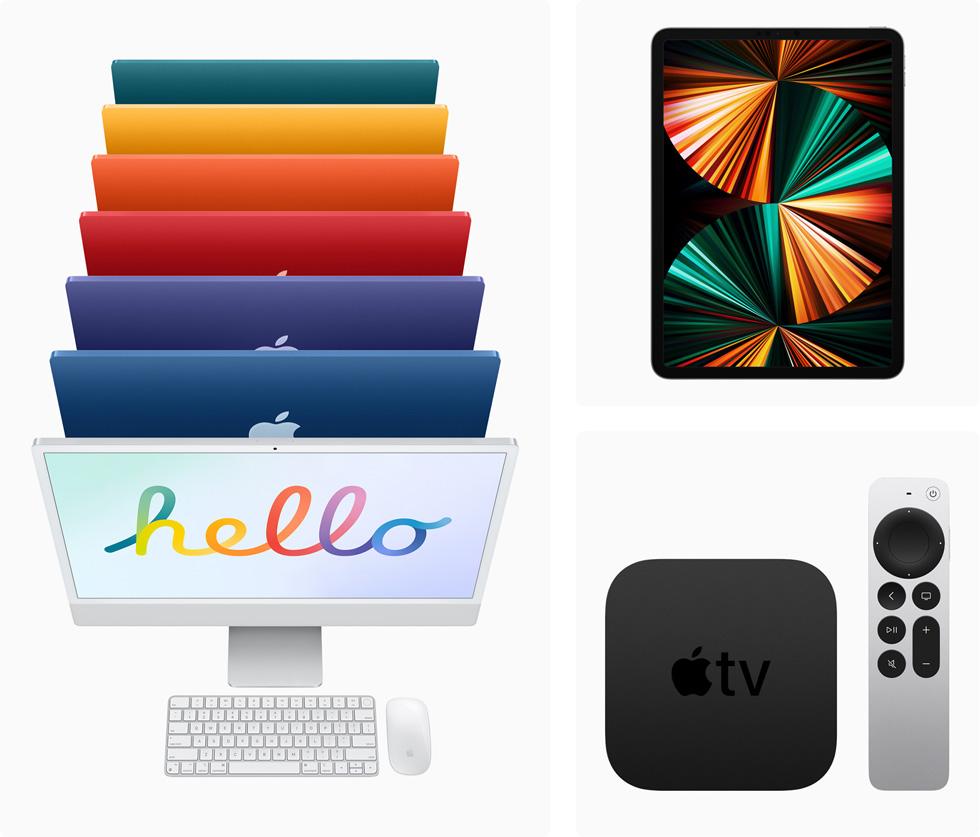 備有七款顏色的全新 iMac 機型、iPad Pro,以及 Apple TV 4K 搭配 Apple TV Remote。