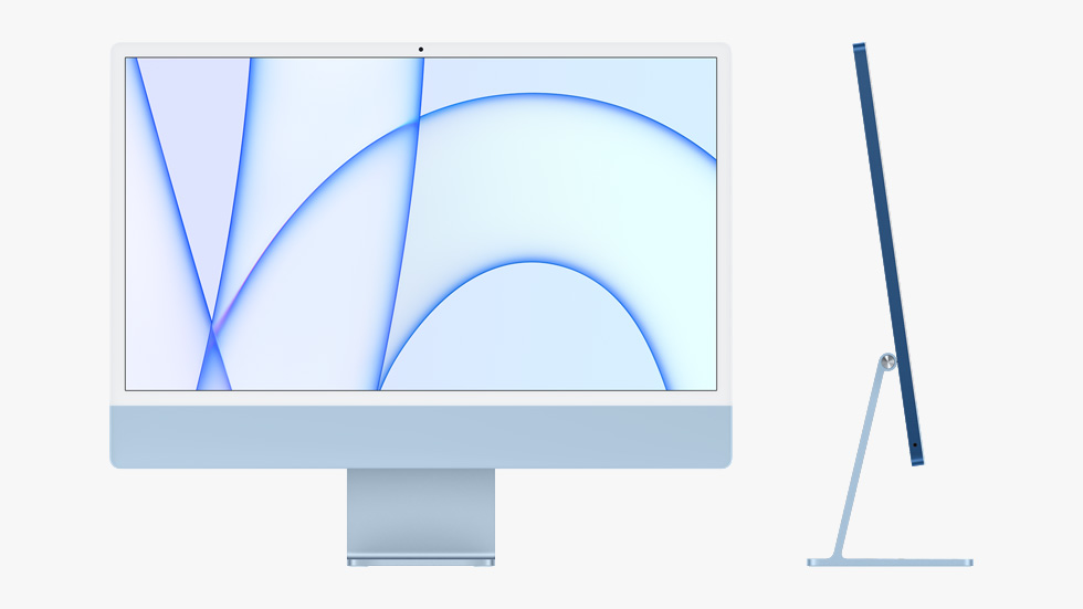 Front and side view of the all-new iMac in blue.