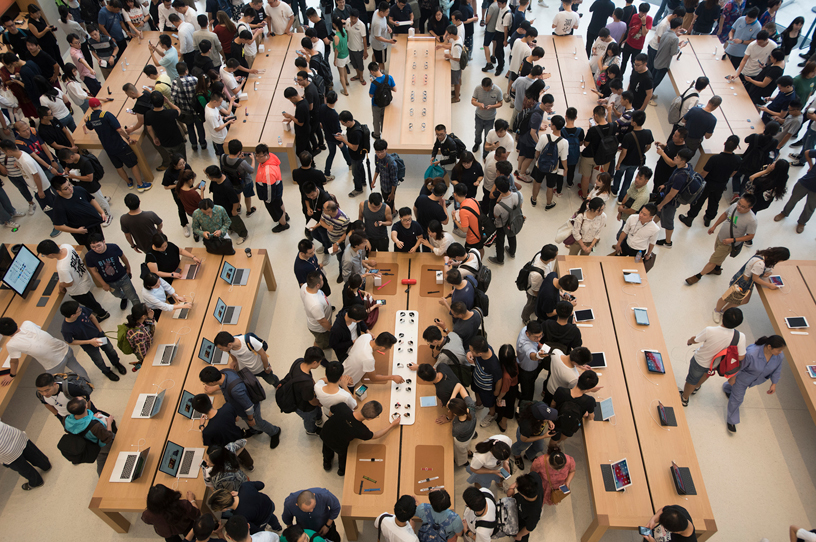 The crowded floor of Apple Suzhou in China.