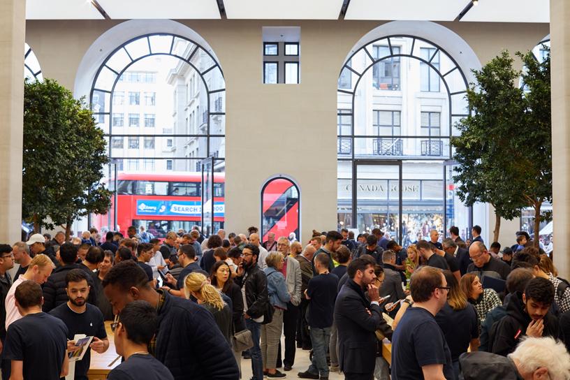 Crowds inside Apple Regent Street in London.