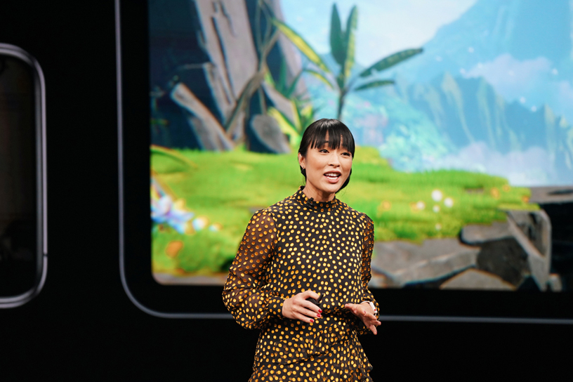 Ann Thai on stage at the Steve Jobs Theater, unveiling Apple Arcade.