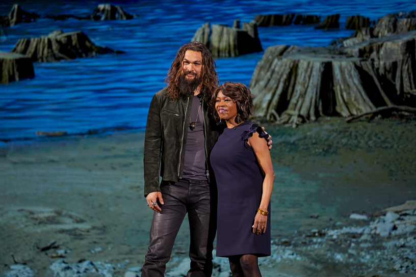 Jason Momoa and Alfre Woodard on stage at Steve Jobs Theater.
