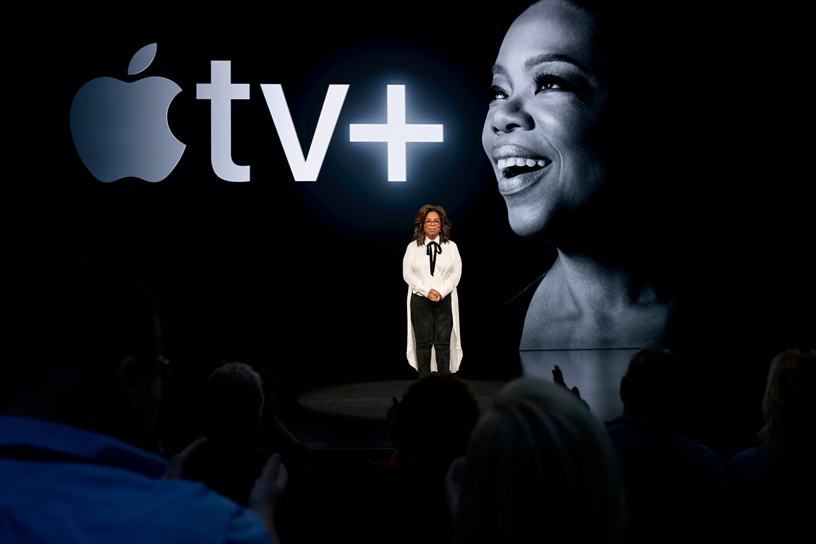 Oprah on stage at Steve Jobs Theater.