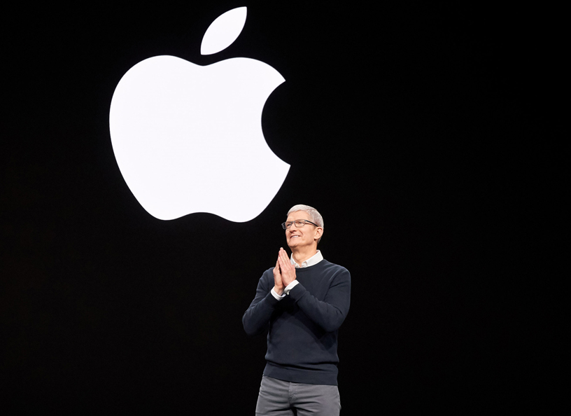 Tim Cook on stage at Steve Jobs Theater.