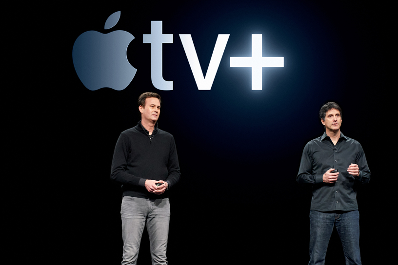 Zack Van Amburg and Jamie Erlicht on stage at the Steve Jobs Theater, unveiling Apple TV+.