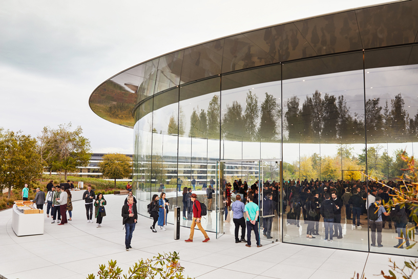 Guests arrive at Steve Jobs Theater at Apple Park.