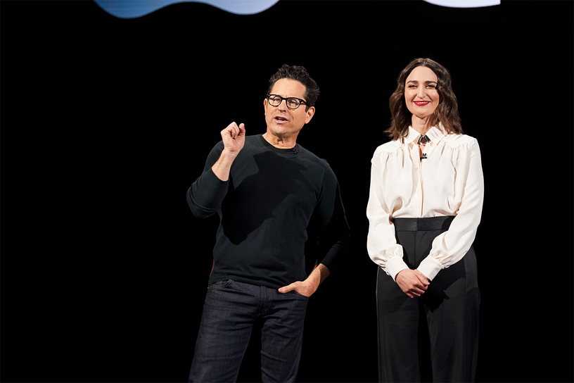 J.J. Abrams and Sara Bareilles on stage at Steve Jobs Theater.