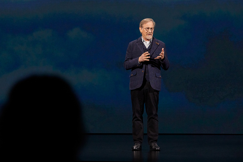 Steven Spielberg on stage at Steve Jobs Theater.