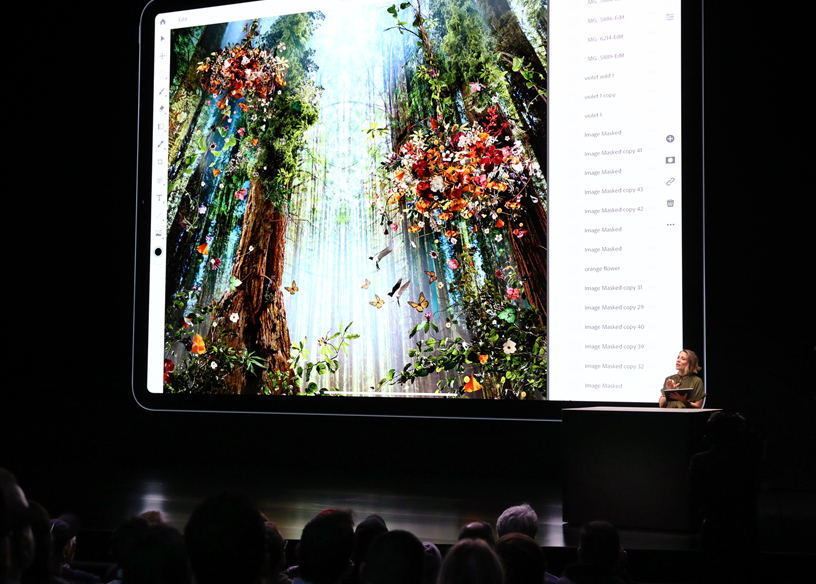 Chantel Benson demos Photoshop on iPad Pro on stage.