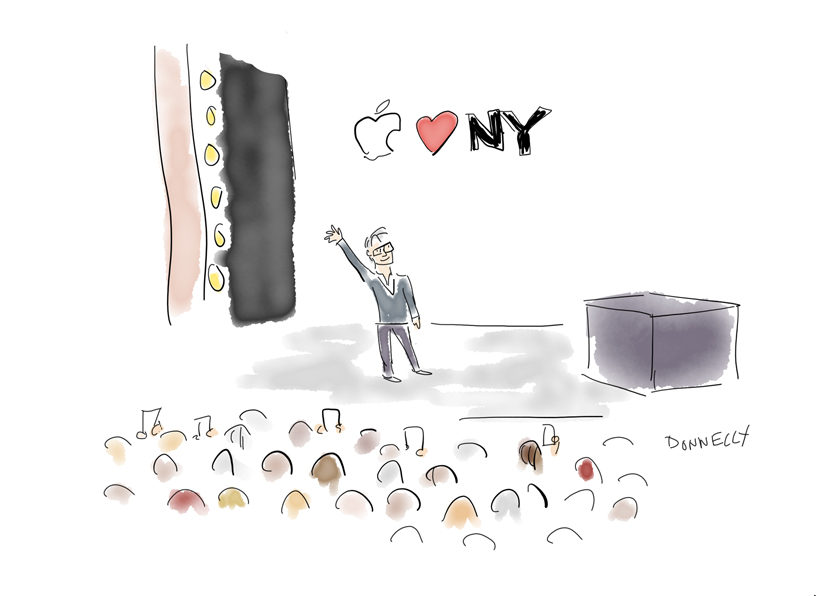 iPad Pro illustration by Liza Donnelly of the keynote at Brooklyn Academy of Music.