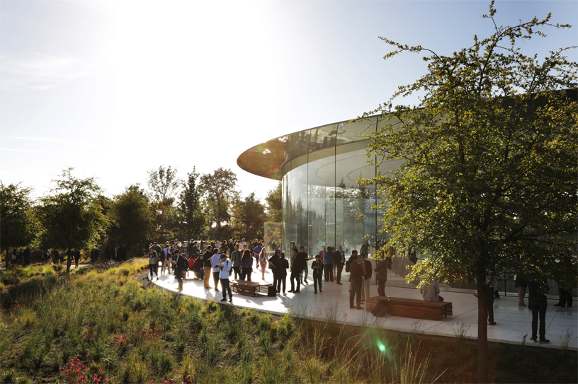 Guests outside Apple Park's Steve Jobs Theater.