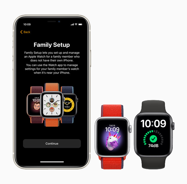 Fonctionnalité de configuration familiale affichée sur l'iPhone 11 Pro, l'Apple Watch SE et l'Apple Watch Series 6.