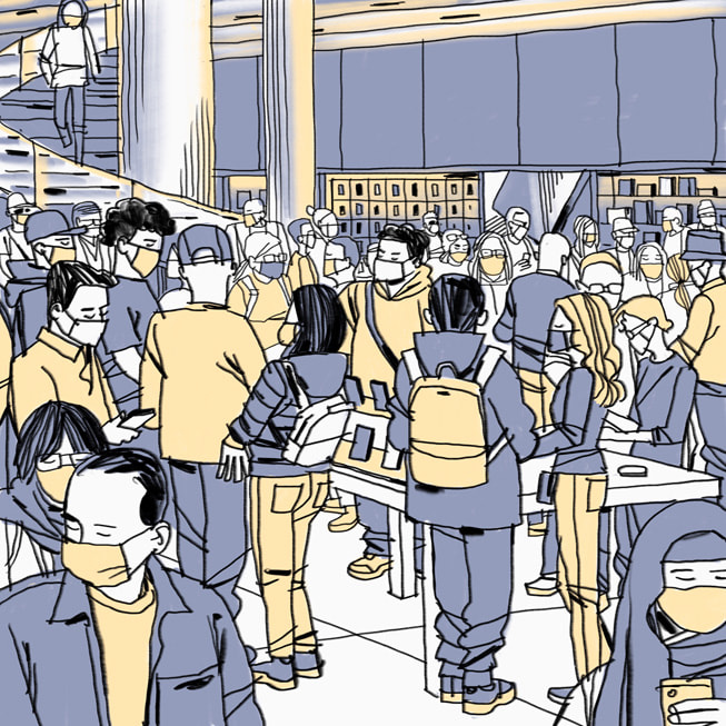 Grey and yellow illustration of the action inside Apple Fifth Avenue by Jorge Colombo, made on iPadmini.