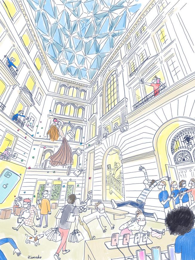 Colourful illustration of the action inside Apple Champs-Élysées by Kanako Kuno, made on iPadmini.