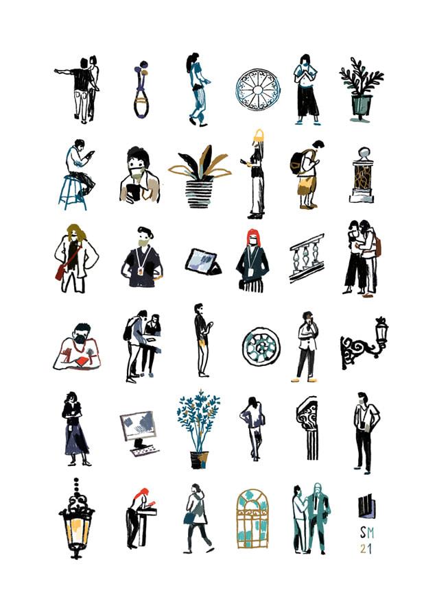 A six-by-six grid illustration of Rome Via del Corso by Simone Massoni, made on iPadmini.