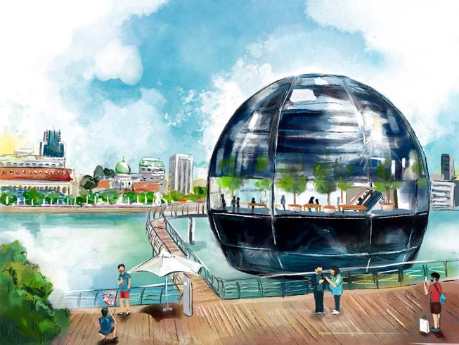 Colourful illustration of Marina Bay Sands by Tiffany Lovage, made on iPadmini.