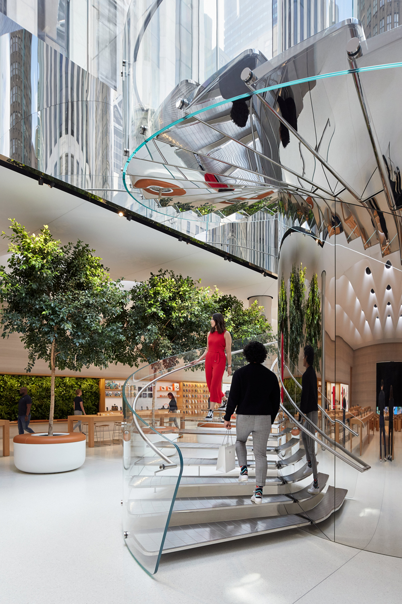 The stainless steel spiral staircase at Apple Fifth Avenue.