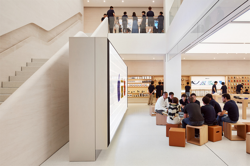 Interior of Apple Kyoto showing multi-level atrium.