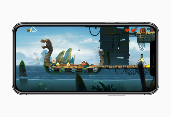 iPhone X showing a dragon boat on a river within the Oddmar iPhone game
