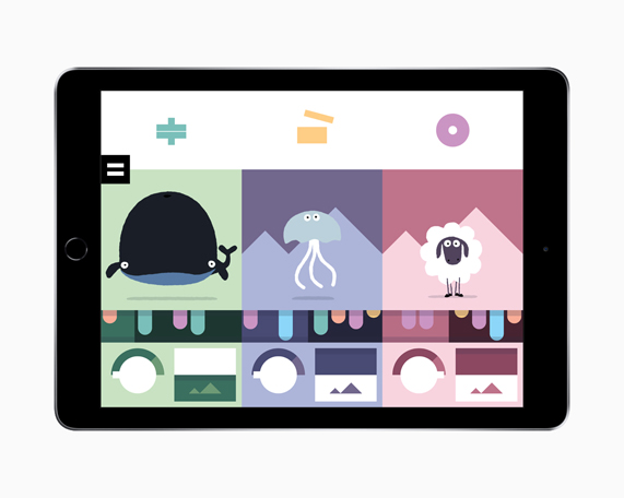 iPad showing a music-making screen with animals and instruments from Bandimal