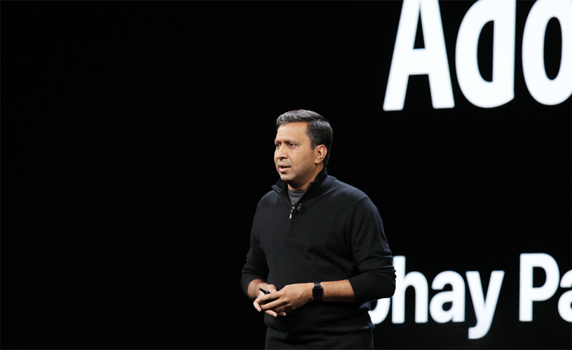 Abhay Parasnis of Adobe on stage at WWDC 2018.
