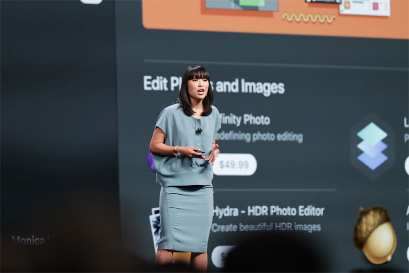 Ann Thai talks about the Mac App Store on stage at WWDC 2018.