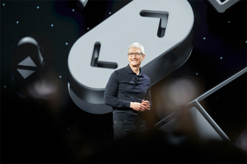 Tim Cook on stage at WWDC 2018.