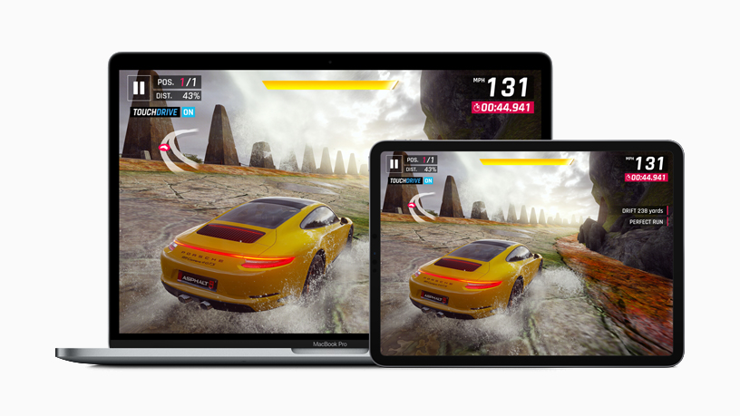"iPad and MacBook Pro displaying racing game ""Asphalt 9: Legends."""