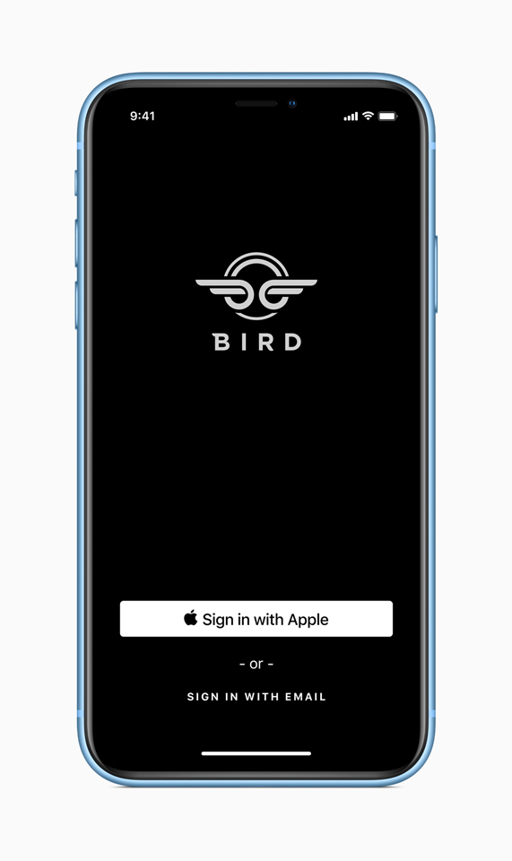 Sign In with Apple sur l'app Bird