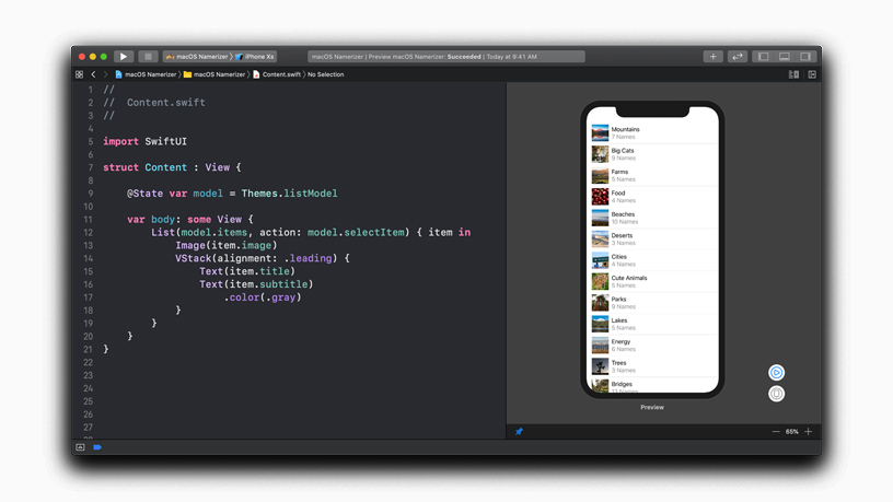 SwiftUI design tool layout.