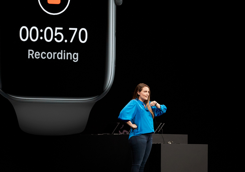 Haley Allen on stage at WWDC 2019.