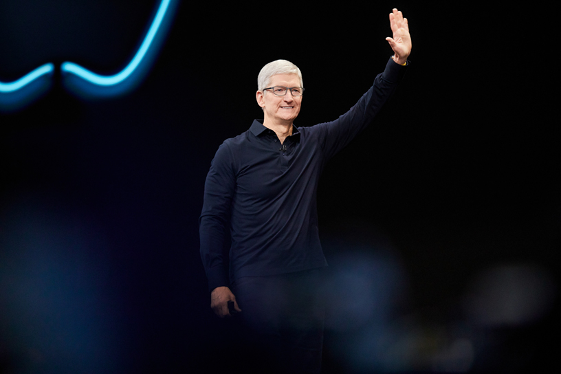 Tim Cook on stage at WWDC 2019.