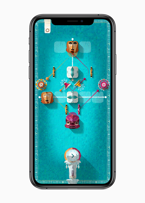 "iPhone showing gameplay of the musical puzzle game, ""ELOH."""