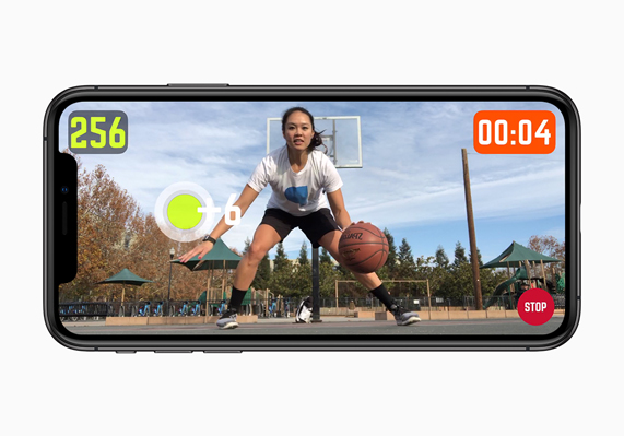 Video from HomeCourt displayed on iPhone XS.