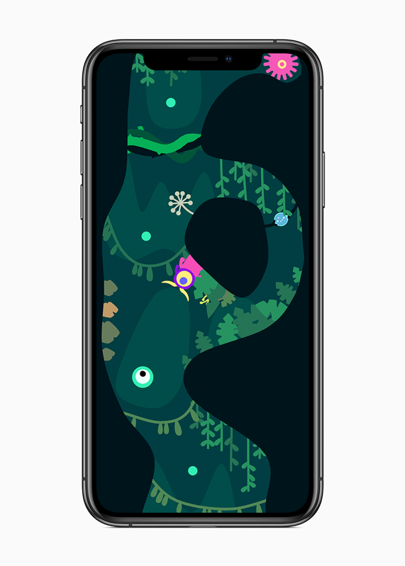 "iPhone showing gameplay from ""Ordia,"" the one-finger action game."