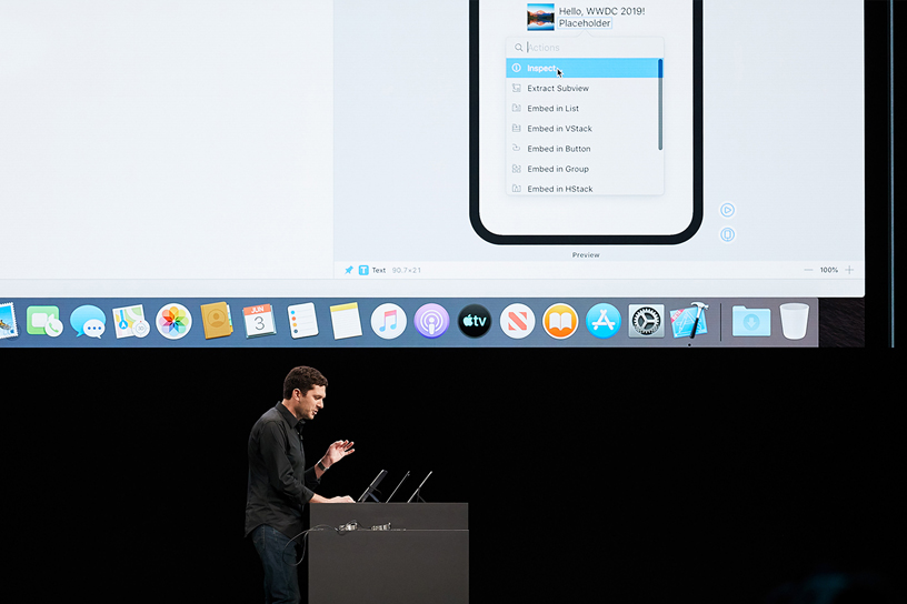 Josh Shaffer on stage at WWDC 2019.