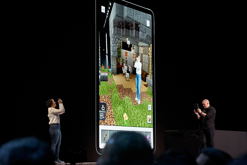 Lydia Winters and Saxs Persson of Mojang on stage at WWDC 2019.