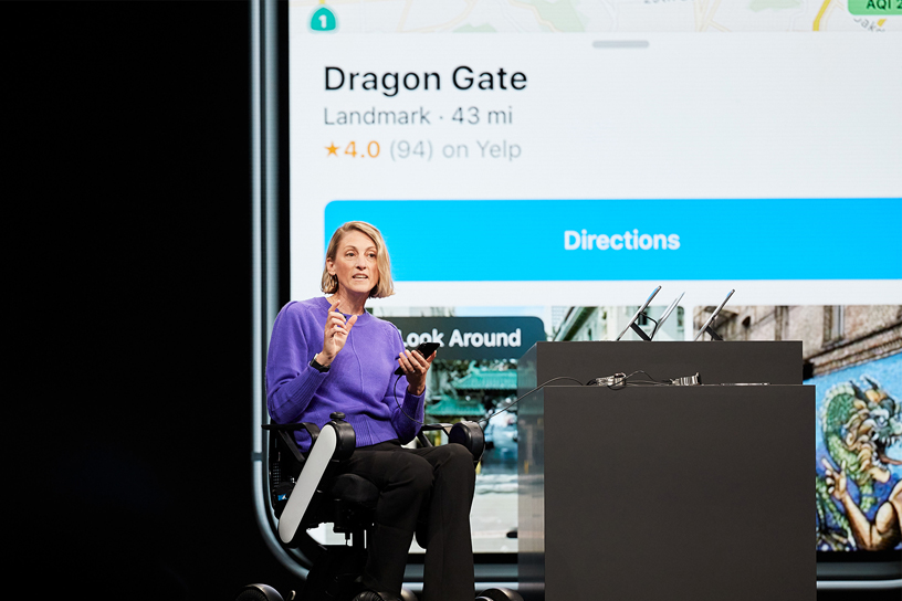 Meg Frost demos the new Map app experience on stage at WWDC 2019.