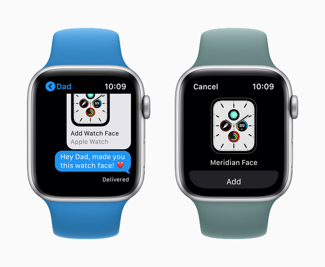 The Meridian watch face side by side with a shared face in Messages displayed on Apple Watch Series 5.
