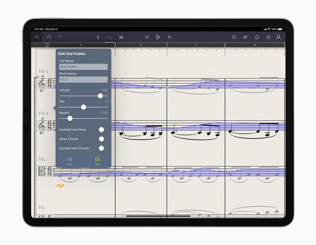 iPad Pro에서 보는 StaffPad 앱.