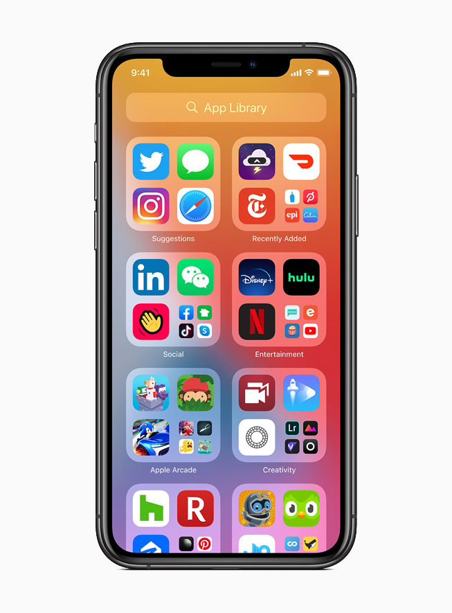 The App Library displayed on iPhone 11 Pro.