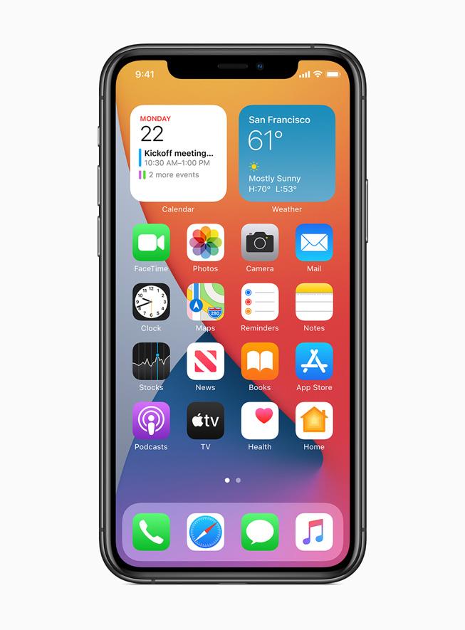 Widgets en la nueva pantalla de inicio en el iPhone 11 Pro.
