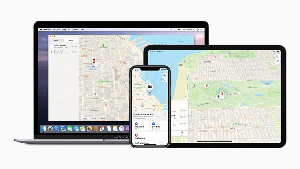 App Encontrar en una MacBook Pro, un iPad Pro y un iPhone 11 Pro.