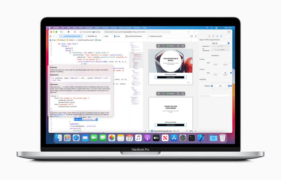Ambiente de programación Xcode en una MacBook Pro.