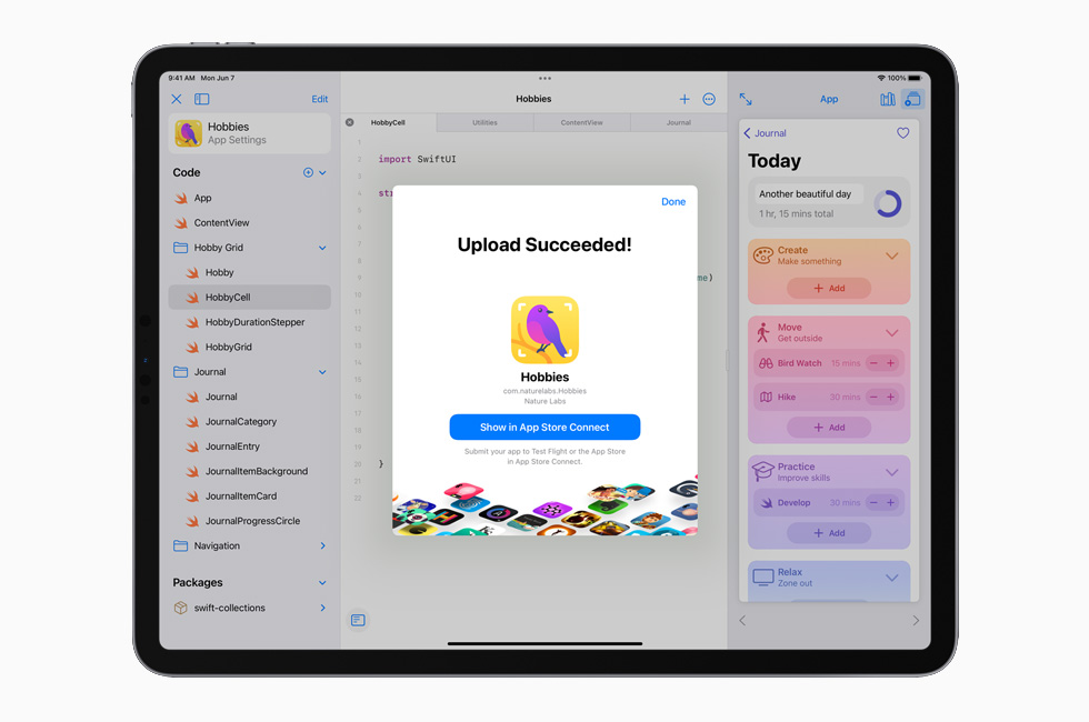 An app is uploaded to the App Store on the 12.9-inch iPad Pro.