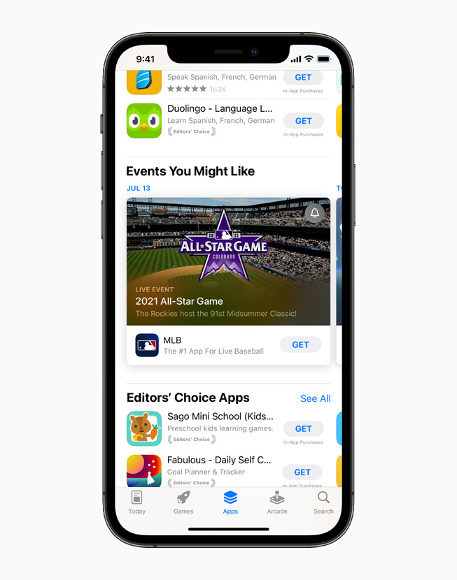 Events You Might Like and Editors' Choice Apps on the App Store, displayed on iPhone 12 Pro.