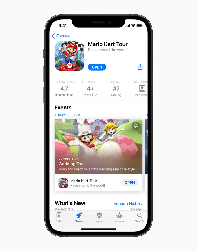 """""""Mario Kart Tour"""" on the App Store, displayed on iPhone 12 Pro."""
